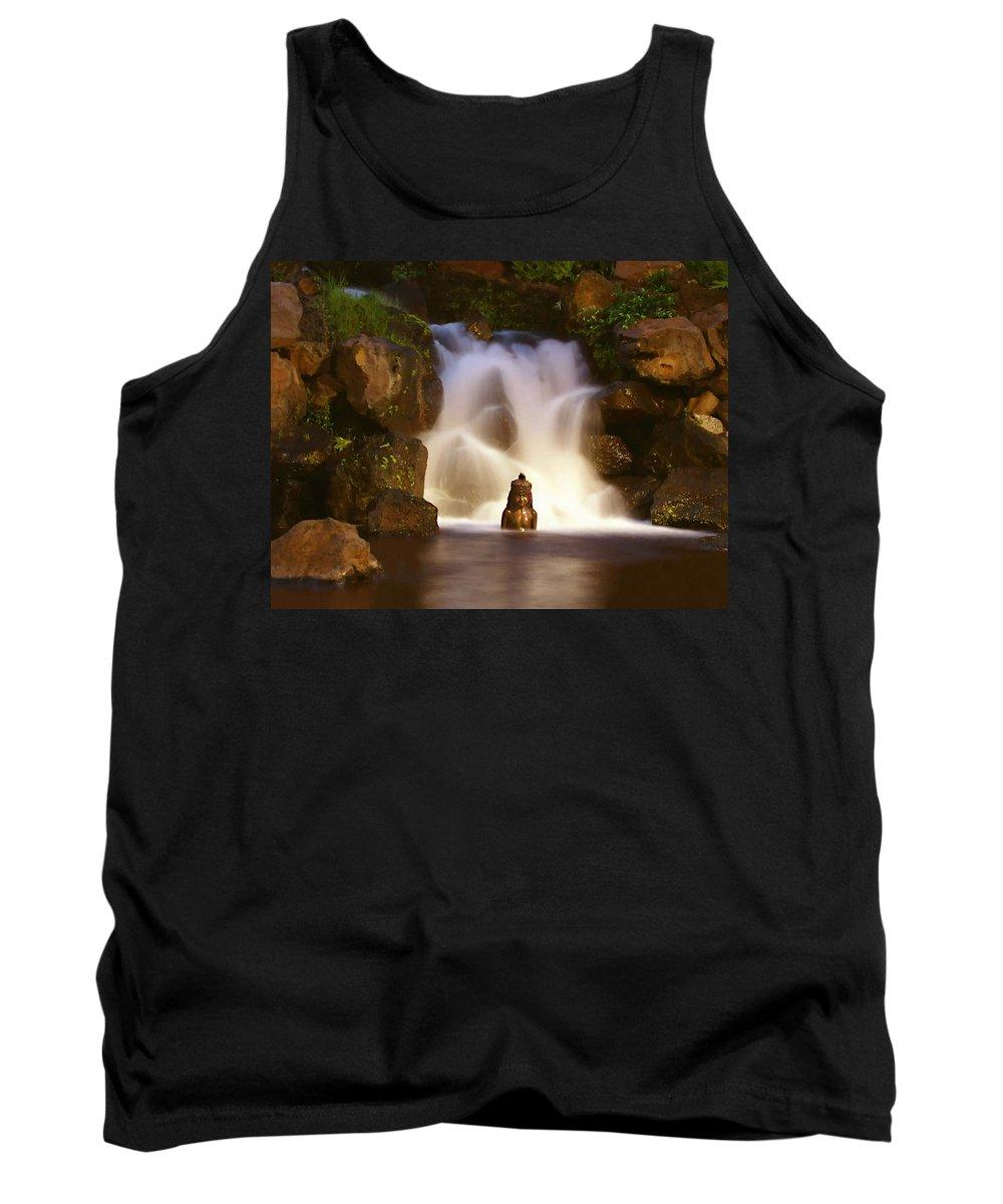 Garden Waterfall Tank Top featuring the photograph Garden Waterfall by Ellen Henneke