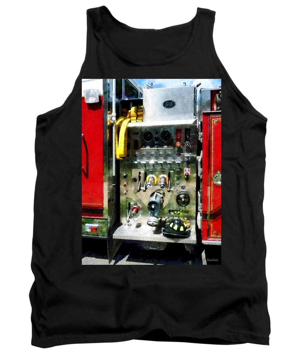 Gauges Tank Top featuring the photograph Gauges Hoses And A Helmet by Susan Savad