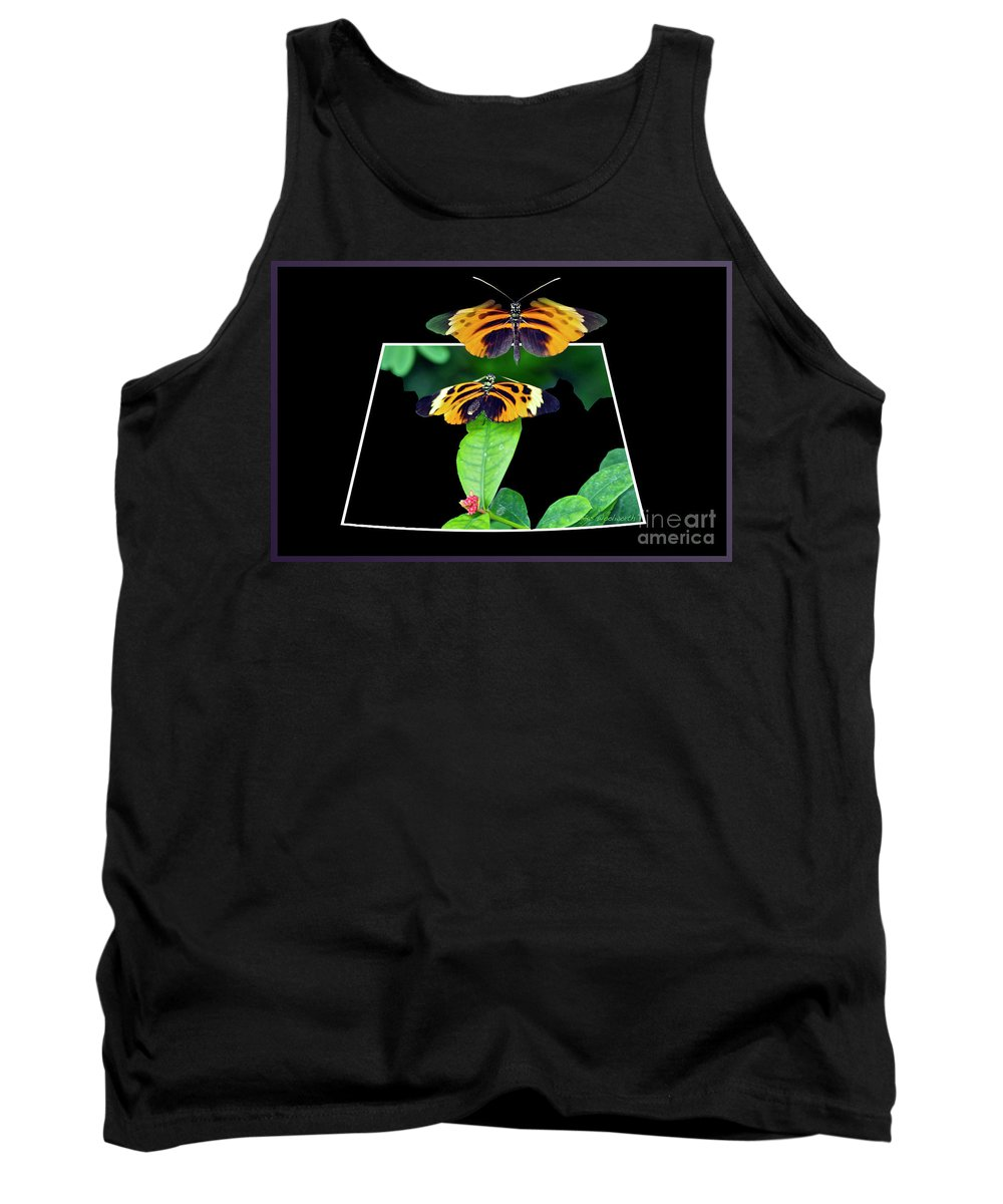 Mating Tank Top featuring the photograph Gentle Butterfly Courtship 01 Out Of Bounds by Thomas Woolworth