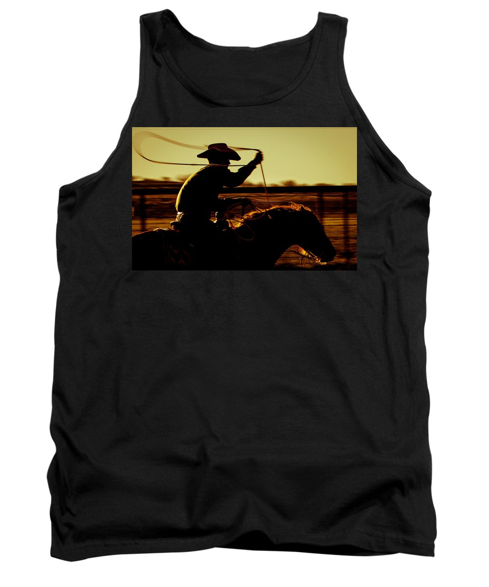 Cowboy Tank Top featuring the photograph Gettin' Left by Kelli Brown