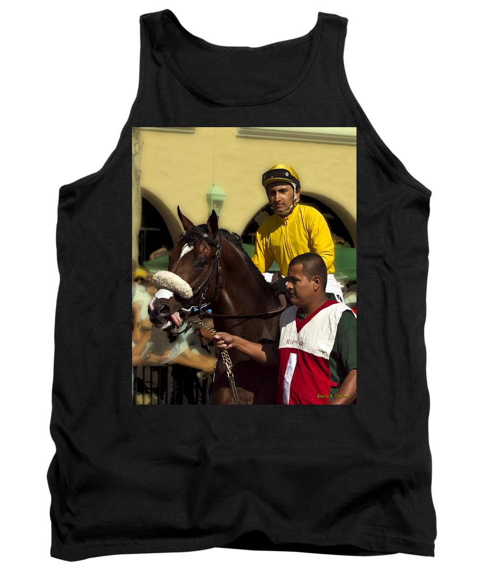 Del Mar Tank Top featuring the photograph Getting Ready - Jockey And Horse For The Race by Angela Stanton