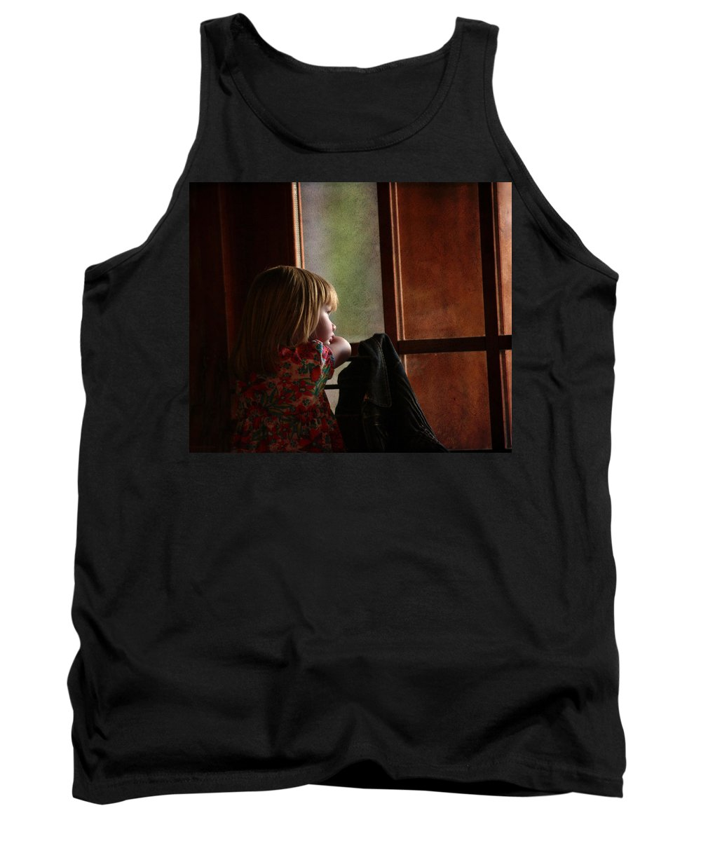 Girl Tank Top featuring the photograph Girl At The Window by Guna Andersone
