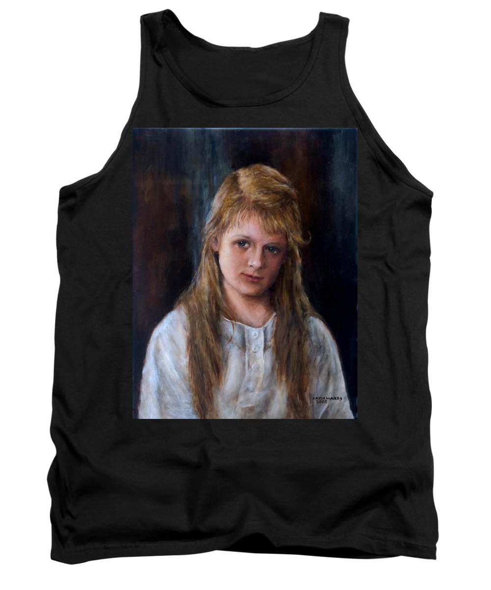Portrait Tank Top featuring the painting Girl With Long Brown Hair by Sylvia Castellanos