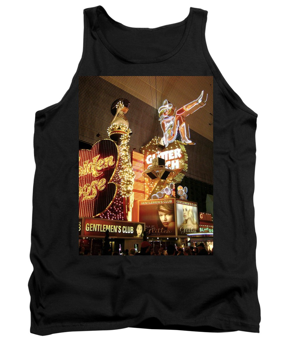 Gentlemen's Club Tank Top featuring the photograph Glitter Gulch In Las Vegas by Gerry High