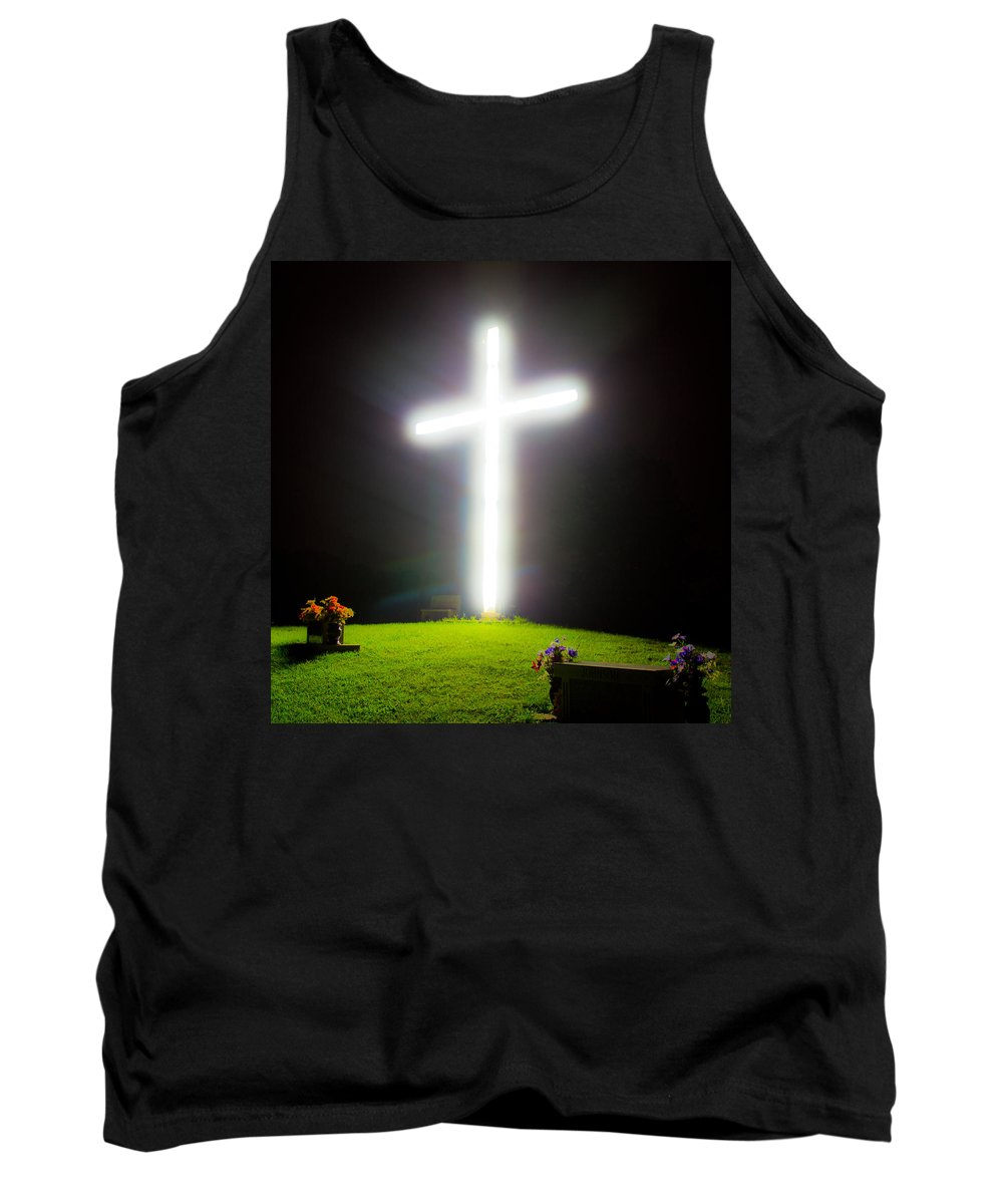 Cross Tank Top featuring the photograph Glowing Cross by Jonny D