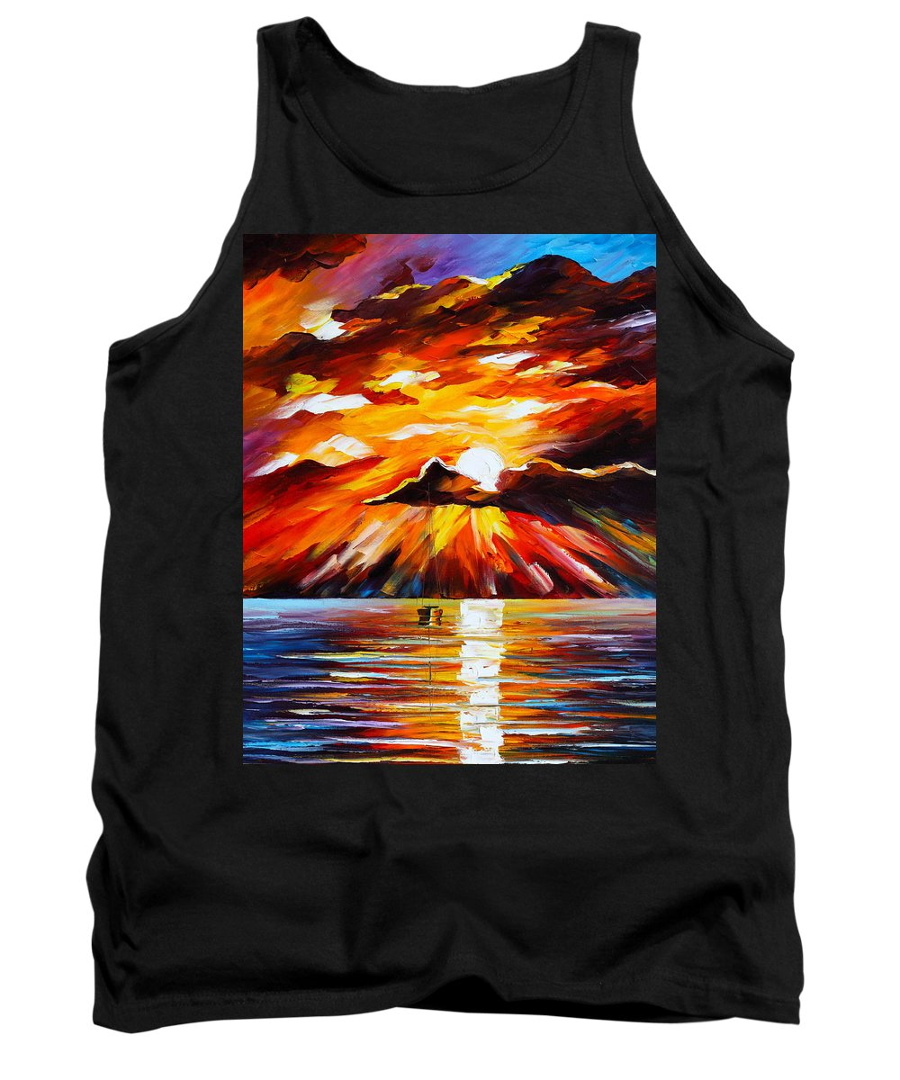 Sea Tank Top featuring the painting Glowing Sun by Leonid Afremov