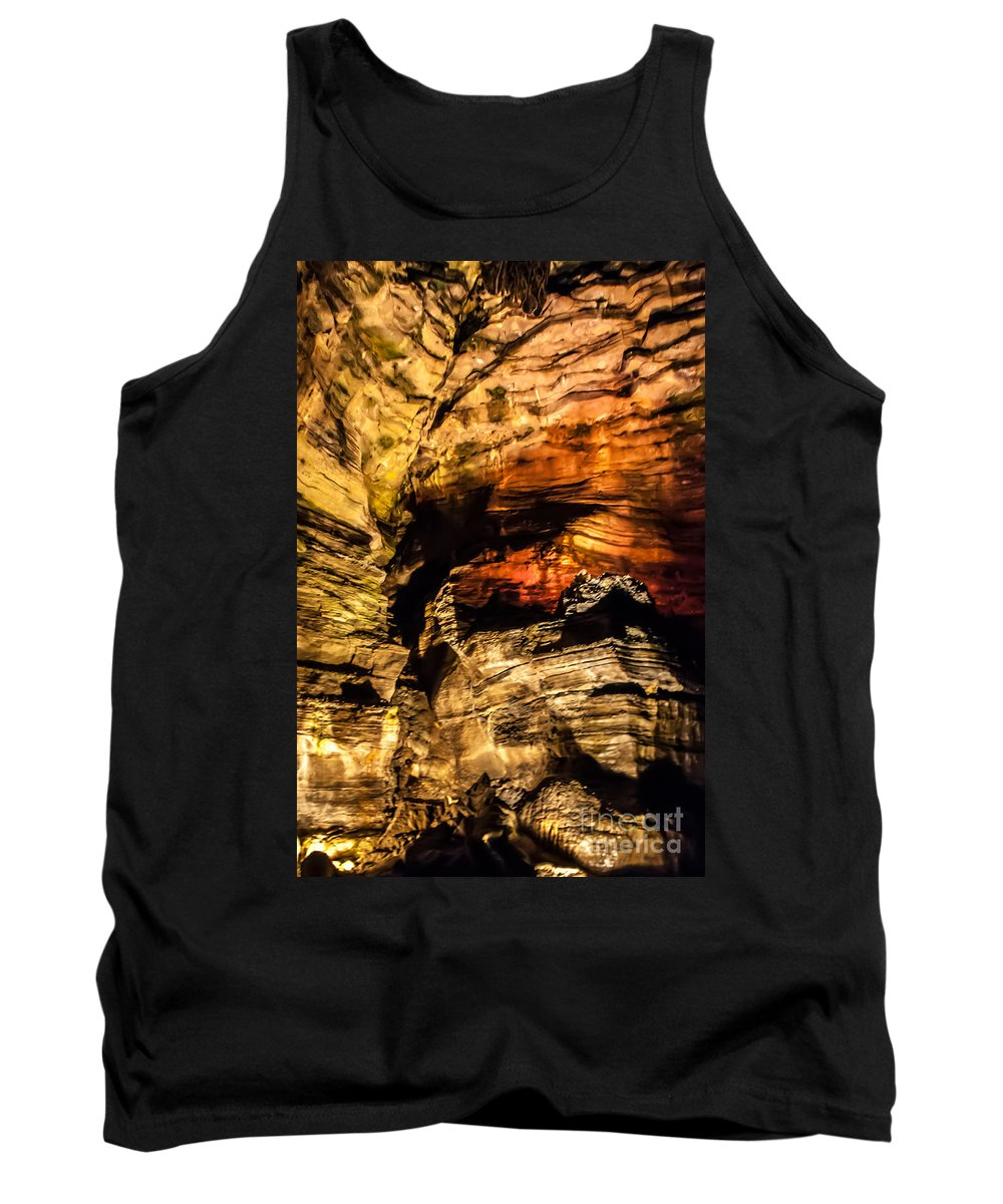 Howe Caverns Tank Top featuring the photograph Golden Caverns by Anthony Sacco