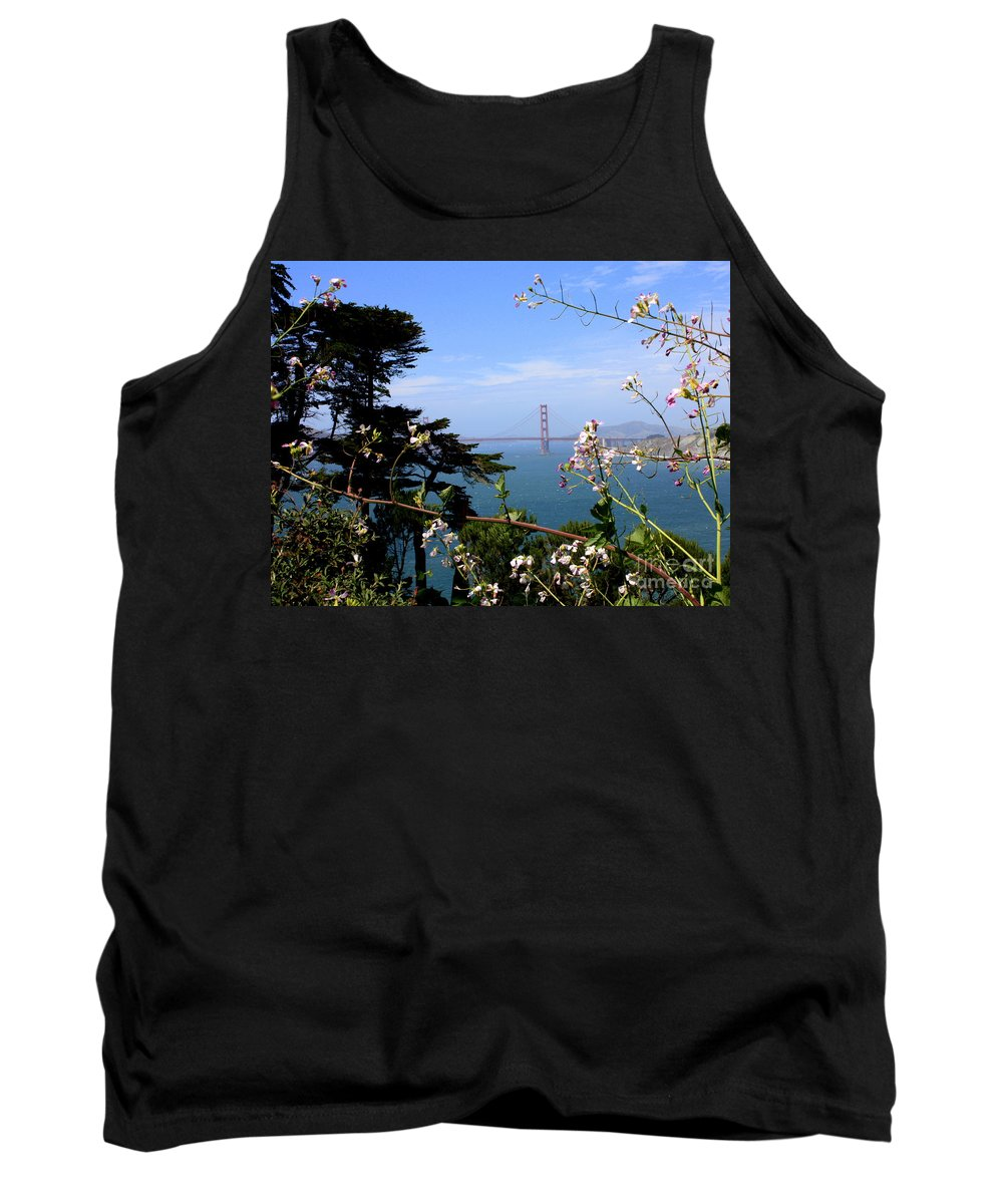 San Francisco Tank Top featuring the photograph Golden Gate Bridge And Wildflowers by Carol Groenen