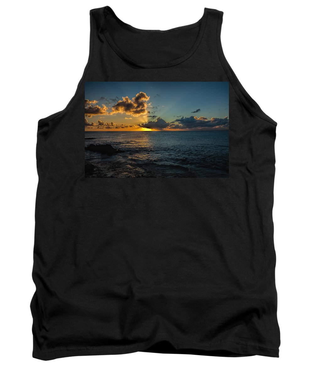 Caribbean Tank Top featuring the photograph Golden Rays by Glenrick Kerr