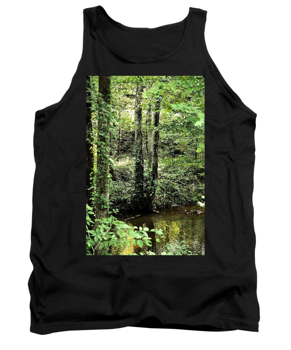 Golden Silence In The Forest Tank Top featuring the photograph Golden Silence In The Forest by Maria Urso