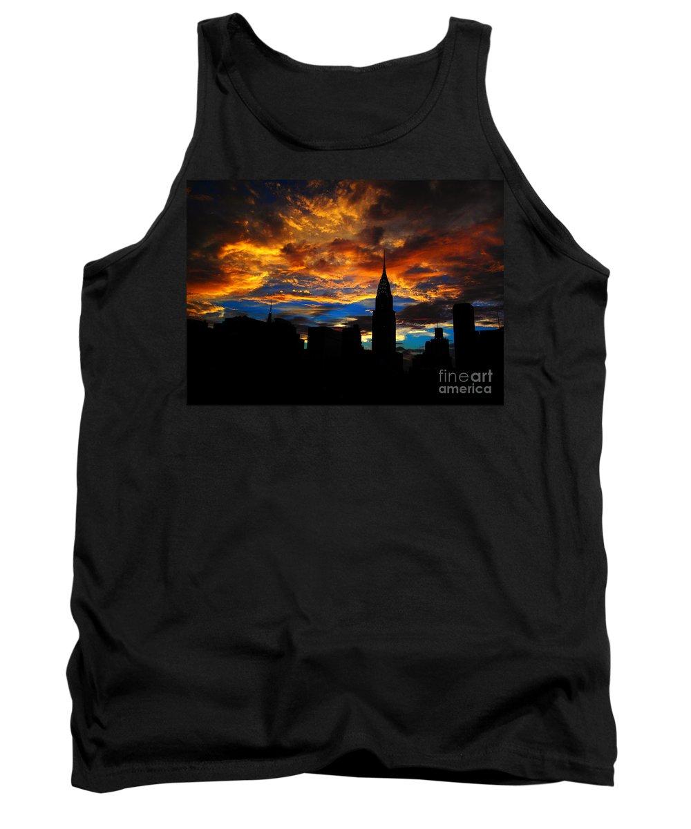 Chrysler Building Tank Top featuring the photograph Golden Sunset Indigo Sky - With Chrysler Building by Miriam Danar