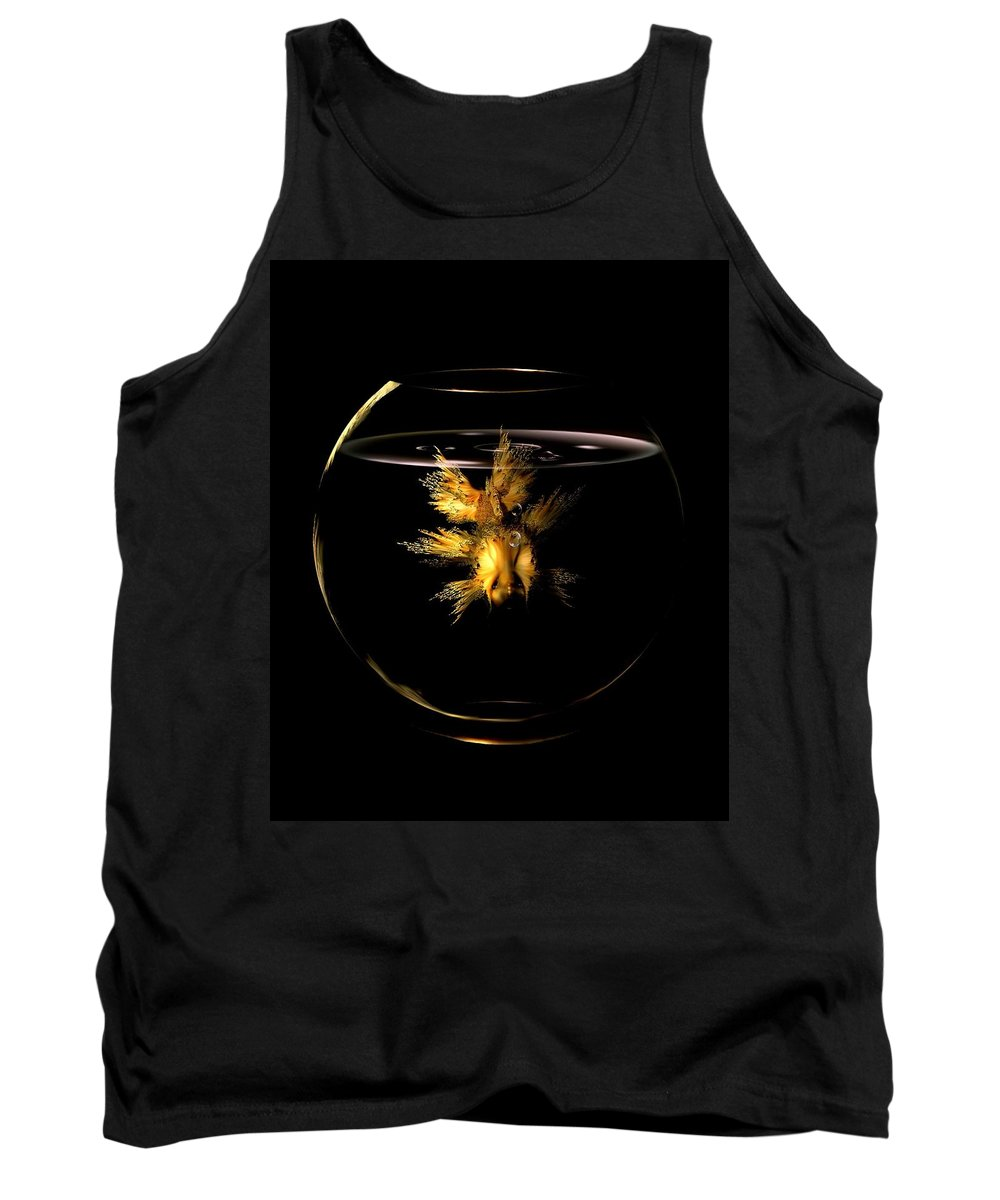 Gold Fish Tank Top featuring the digital art Golden Fish by Patricia Banks