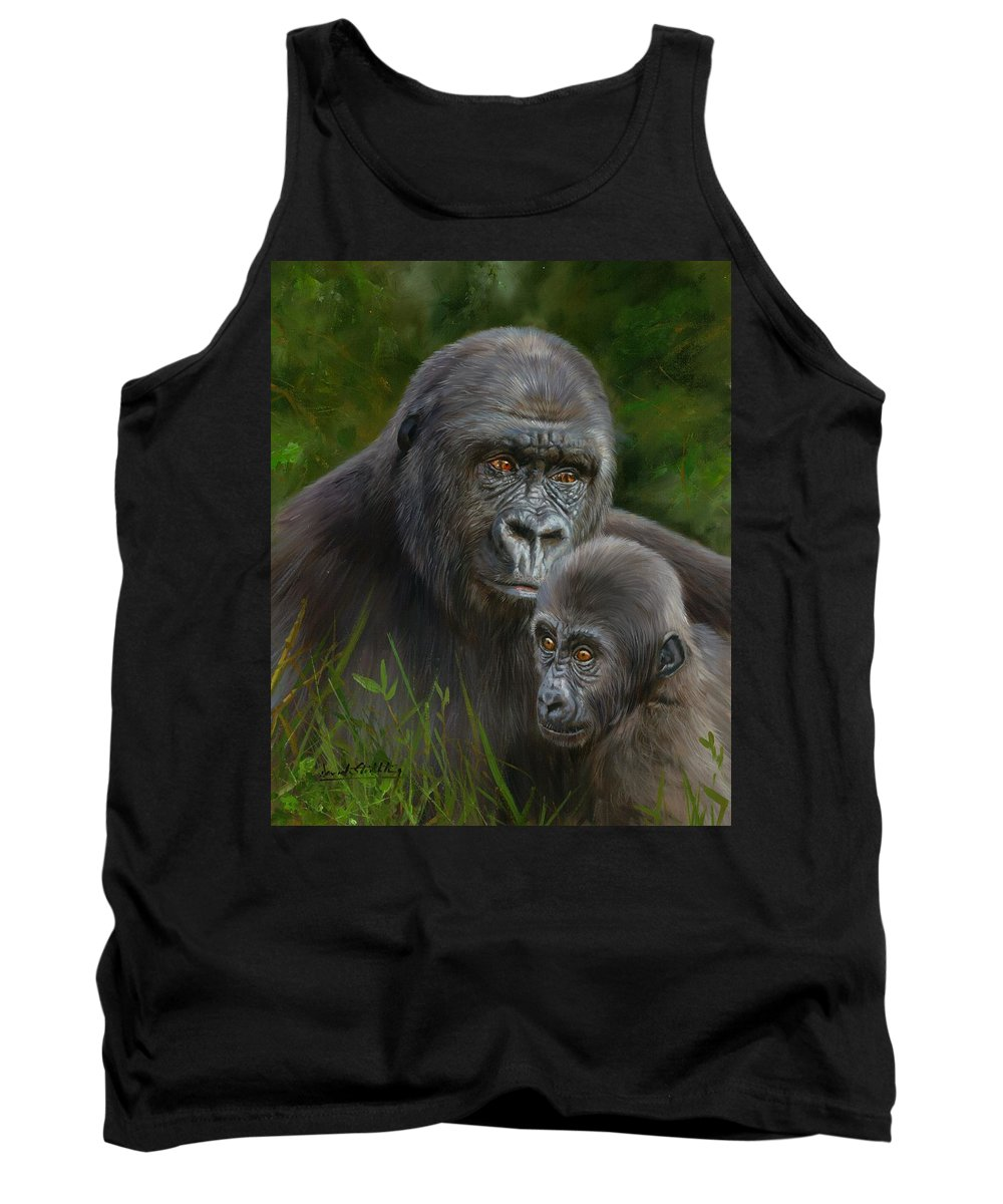 Gorilla Tank Top featuring the painting Gorilla And Baby by David Stribbling