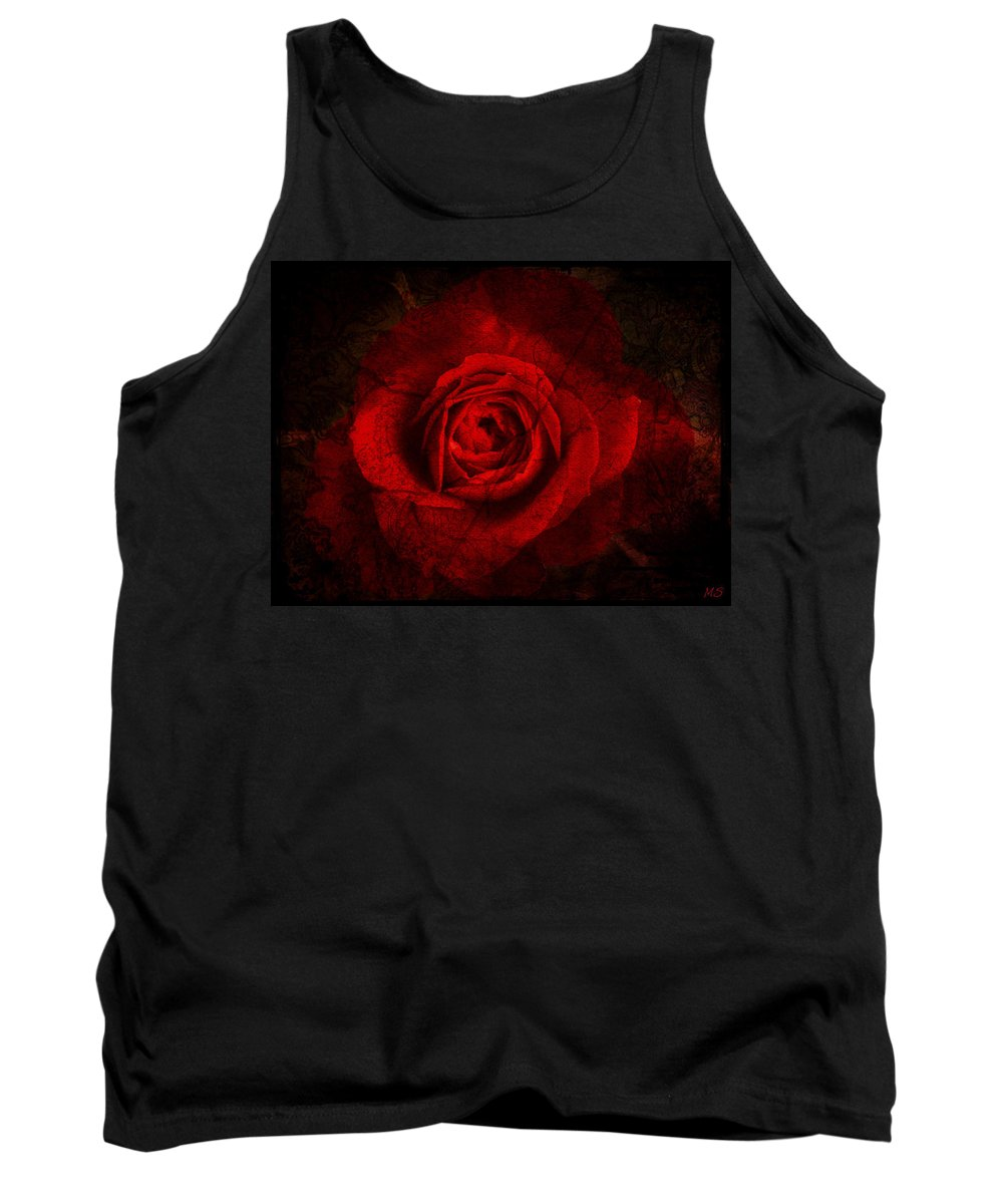 Rose Tank Top featuring the digital art Gothic Red Rose by Absinthe Art By Michelle LeAnn Scott