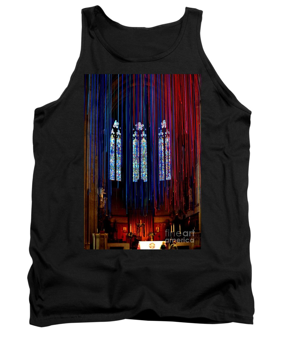 Grace Cathedral Tank Top featuring the photograph Grace Cathedral With Ribbons by Dean Ferreira