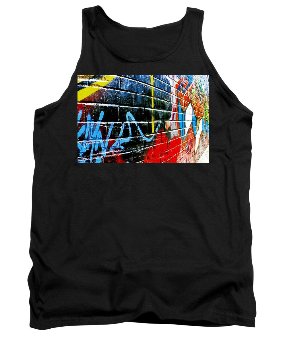 Abstract Tank Top featuring the photograph Graffitti Wall by Hal Halli