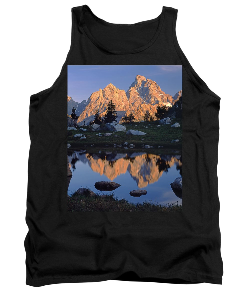 Mt. Owen Tank Top featuring the photograph 1m9376-grand Teton Reflect 2 by Ed Cooper Photography