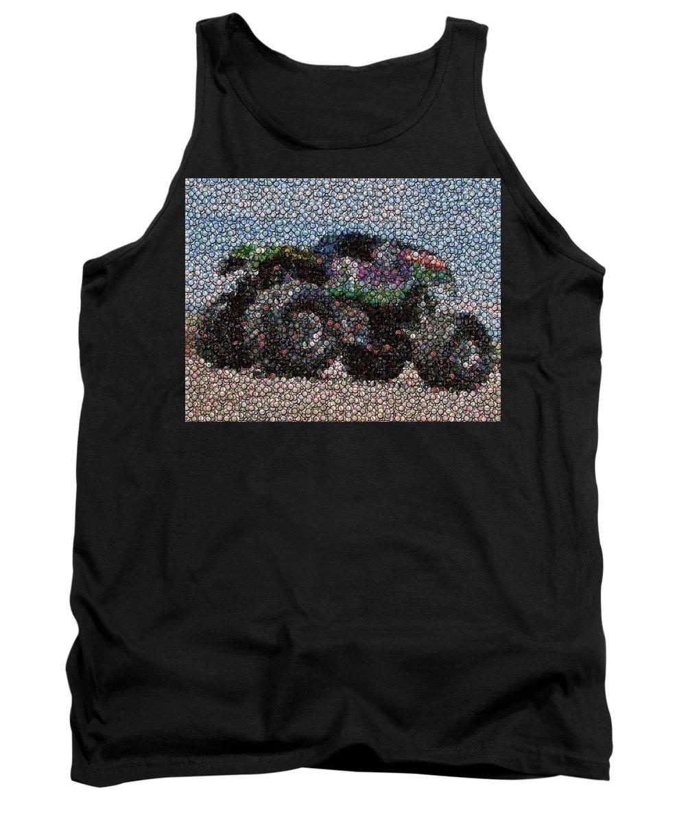 Grave Digger Tank Top featuring the photograph Grave Digger Bottle Cap Mosaic by Paul Van Scott