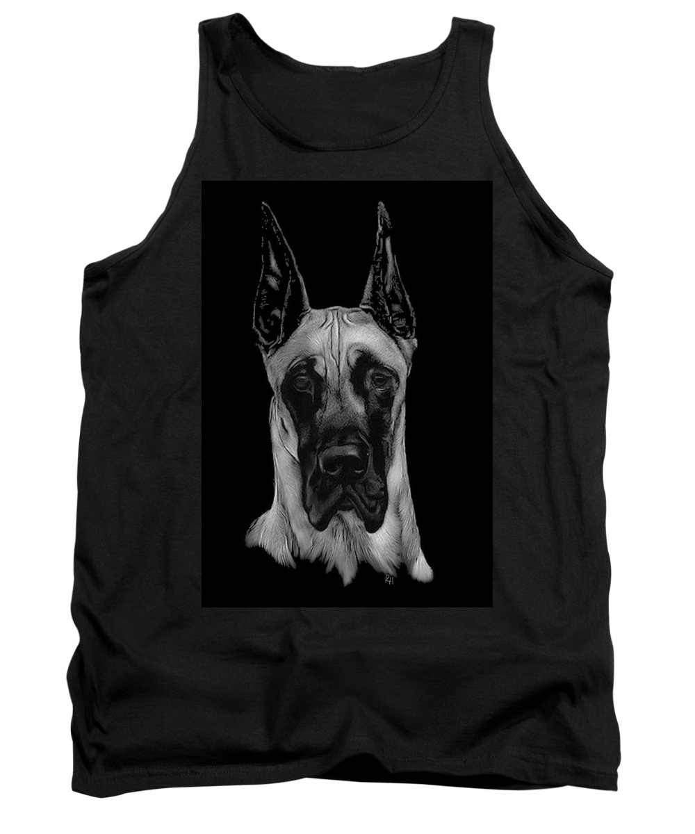 Great Dane Tank Top featuring the drawing Great Dane by Rachel Hames