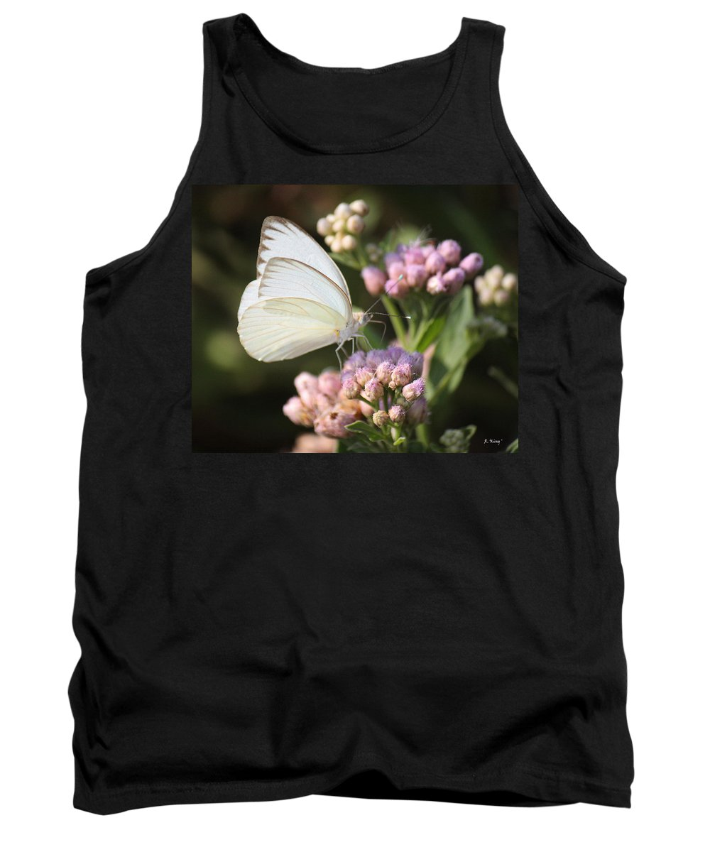 Roena King Tank Top featuring the photograph Great Southern White Butterfly On Pink Flowers by Roena King