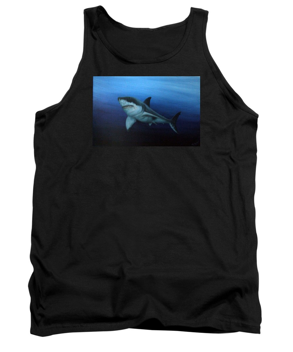 Blue Tank Top featuring the painting Great White Shark by Mackenzie Moulton