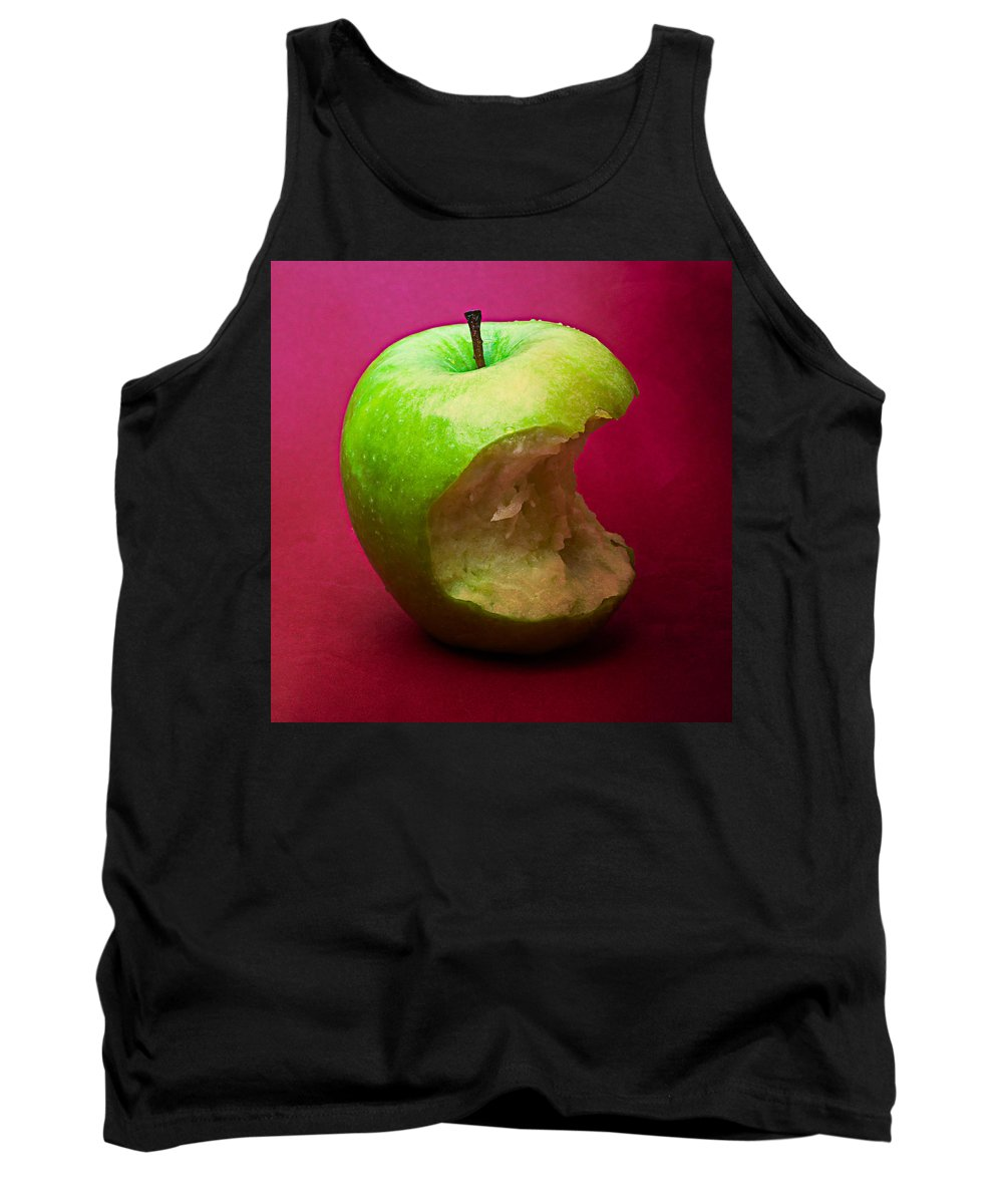 Apple Tank Top featuring the photograph Green Apple Nibbled 5 by Alexander Senin