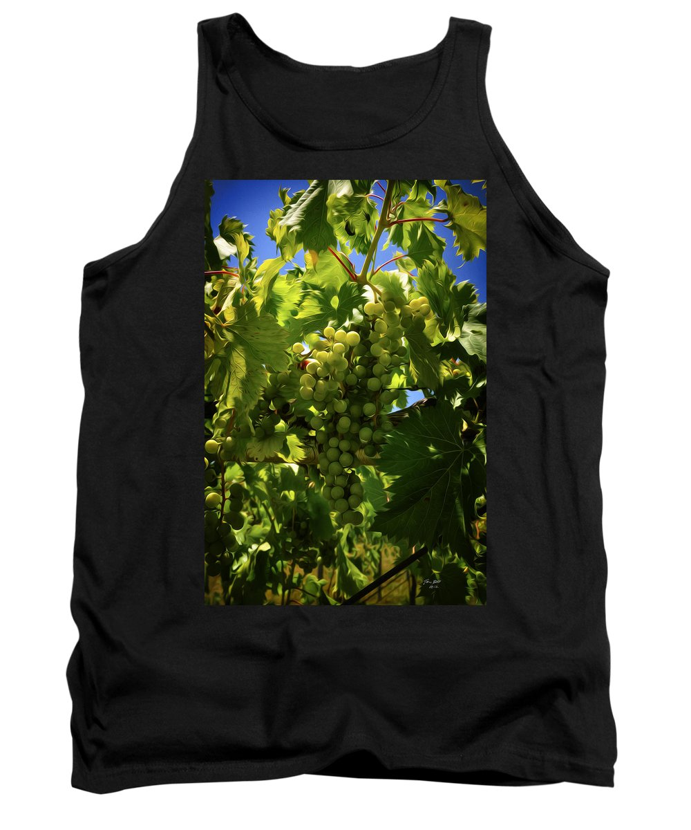 Grapes Tank Top featuring the painting Green Grapes On The Vine by Tom Bell