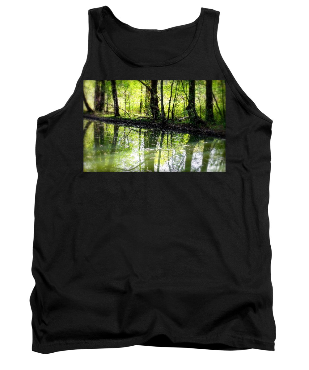 Water Tank Top featuring the photograph Green Shadows by Valentino Visentini