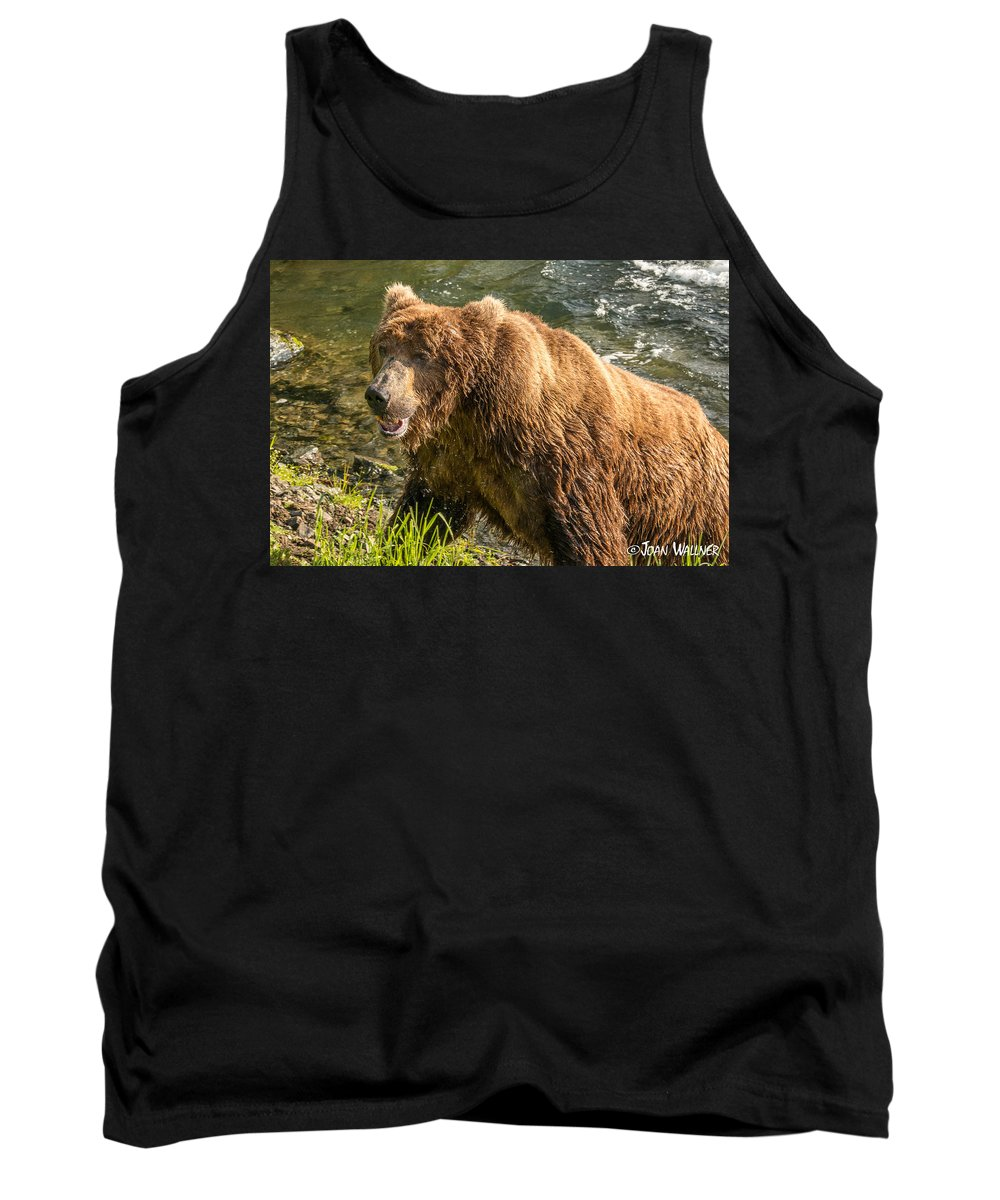 Alaska Tank Top featuring the photograph Grizzly On The River Bank by Joan Wallner