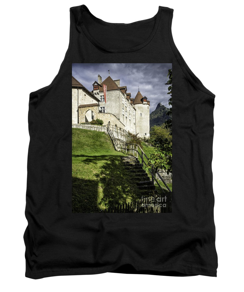 Leysin Tank Top featuring the photograph Gruyeres Castle by Timothy Hacker