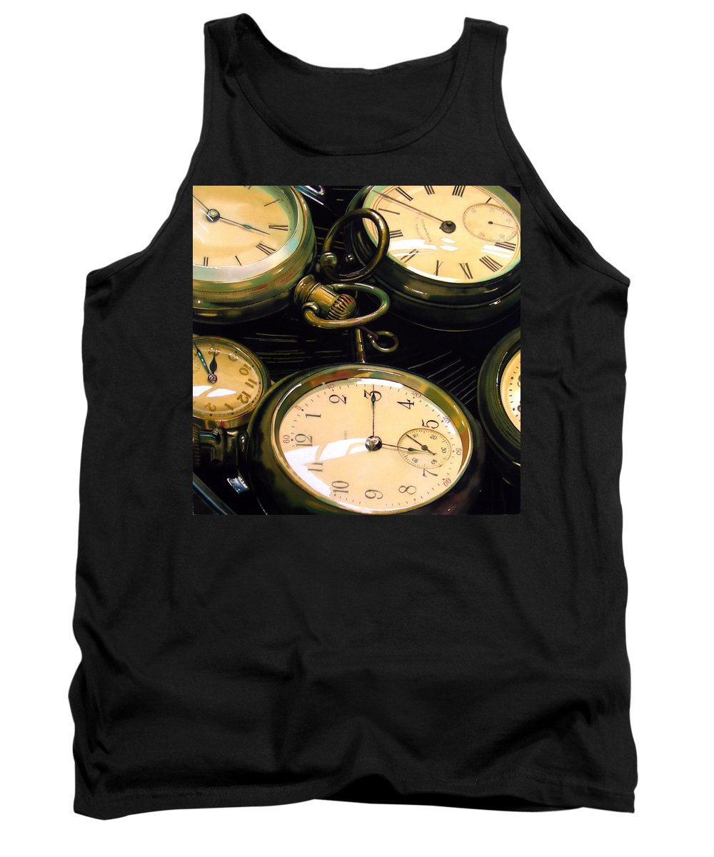 Clocks Tank Top featuring the painting Guardians Of Time by Denny Bond