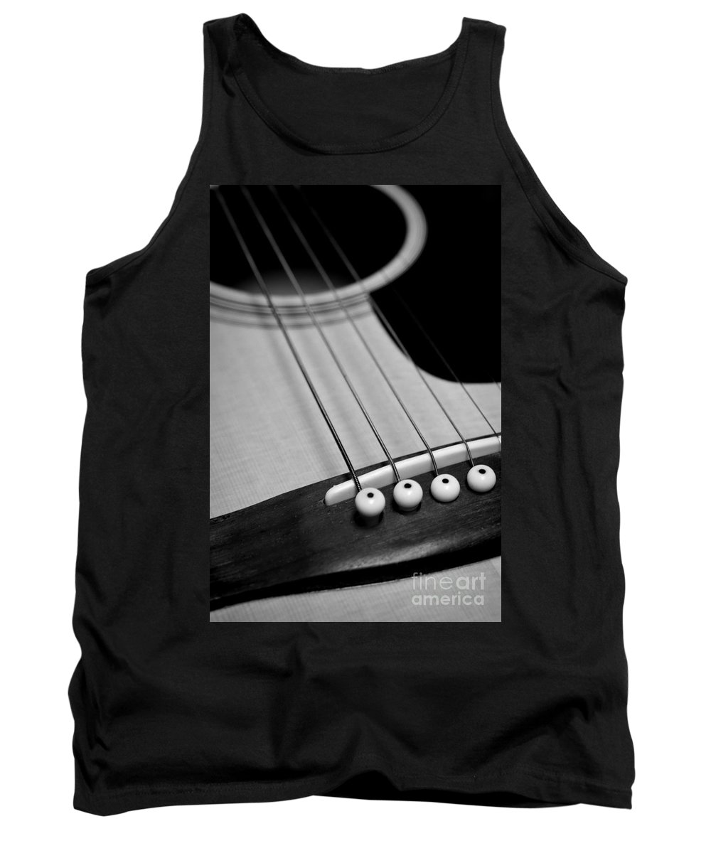Paul Ward Tank Top featuring the photograph Guitar Bridge In Black And White by Paul Ward