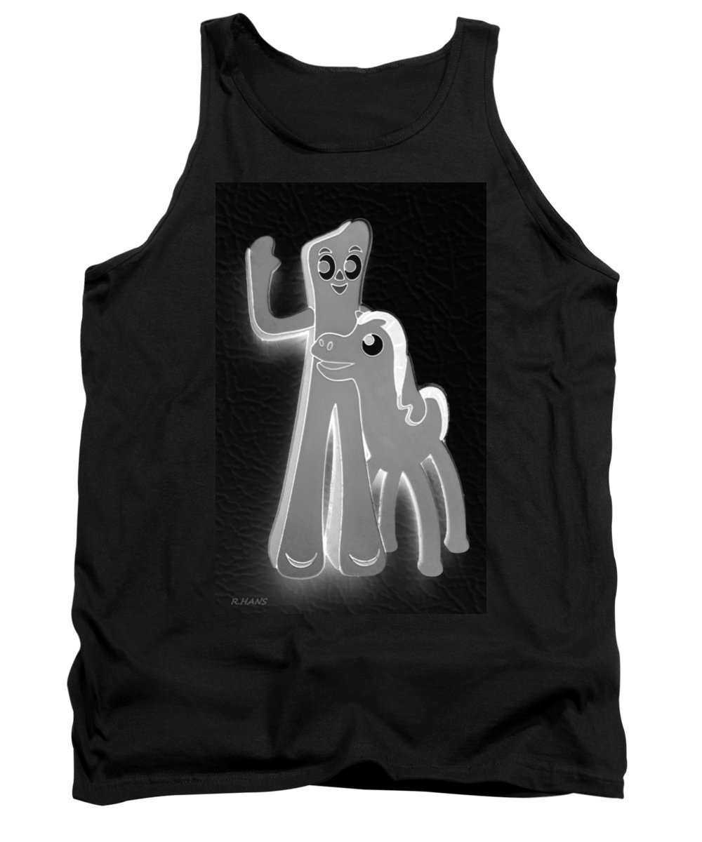 Gumby Tank Top featuring the photograph Gumby And Pokey B F F In Negative Black And White by Rob Hans