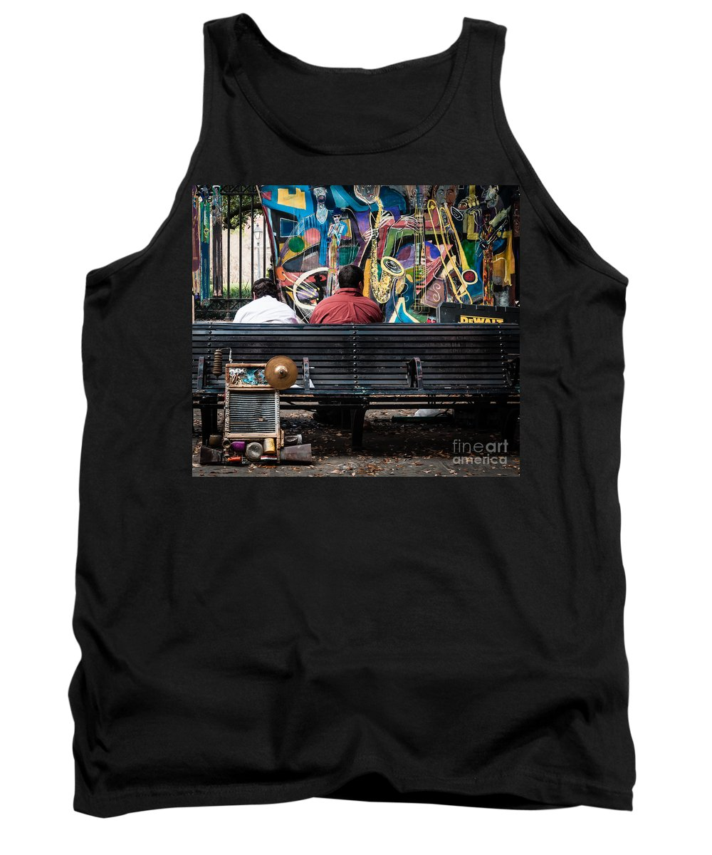 Bench Tank Top featuring the photograph Guys On A Bench - Jackson Square by Kathleen K Parker