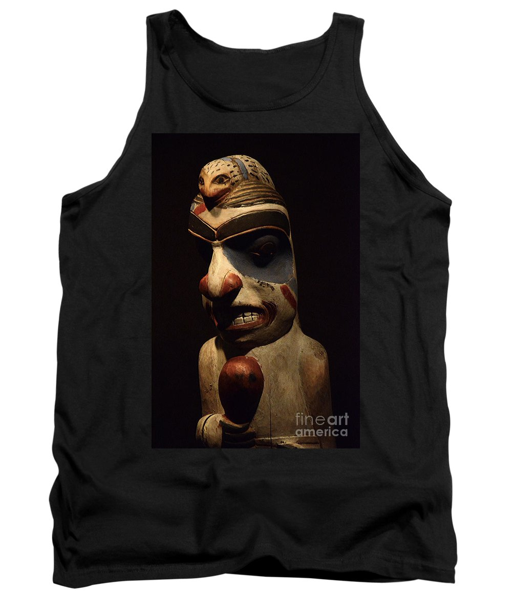 Carved Mask Tank Top featuring the photograph Haida Carving 1 by Bob Christopher