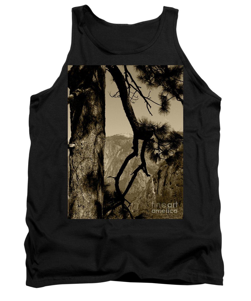 Behind Tree Tank Top featuring the photograph Sierra Nevada Sepia by Mini Arora