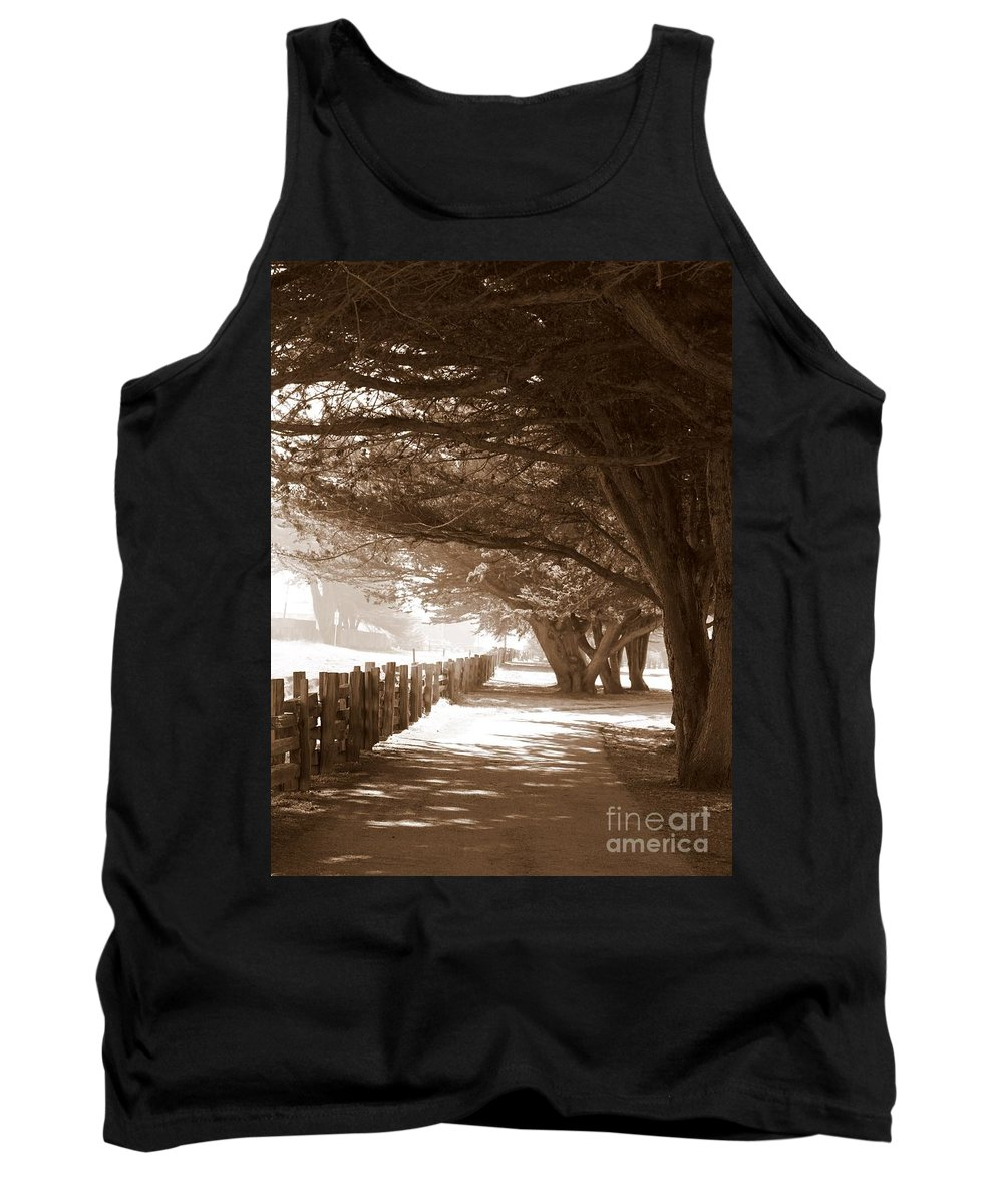 Sepia Tank Top featuring the photograph Half Moon Bay Pathway by Carol Groenen