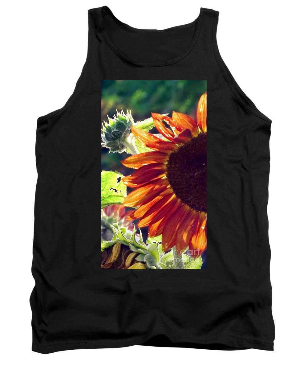 Sunflower Tank Top featuring the photograph Half Of A Sunflower by Madeline Ellis
