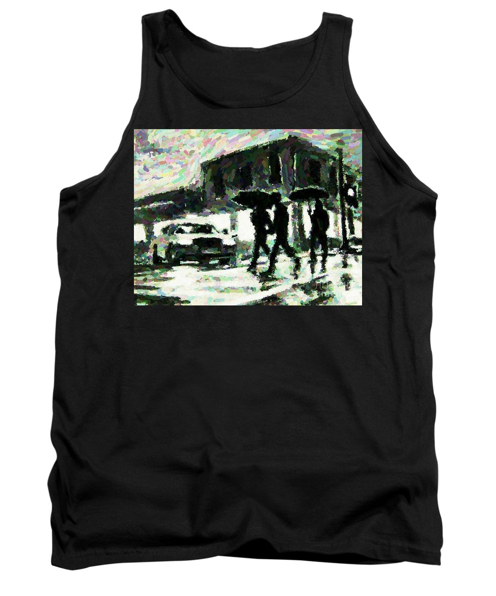 Landscape Paintings Tank Top featuring the digital art Halifax In The Rain One by John Malone