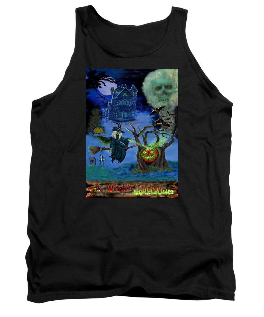 Witch Tank Top featuring the digital art Halloween Witch's Coldron by Glenn Holbrook