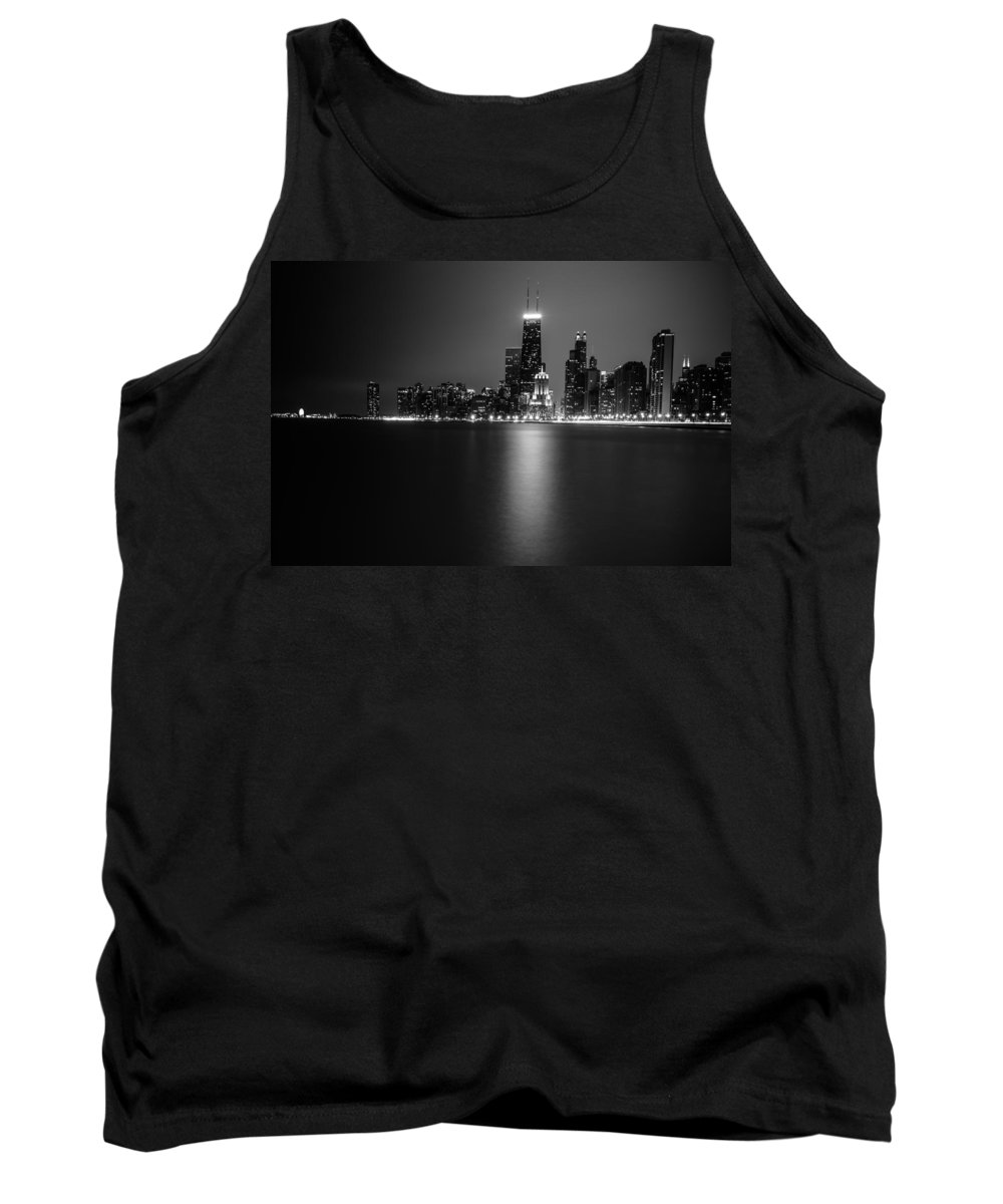 Chicago Tank Top featuring the photograph Hancock Building Reflection From North Ave Beach - Black And White by Anthony Doudt