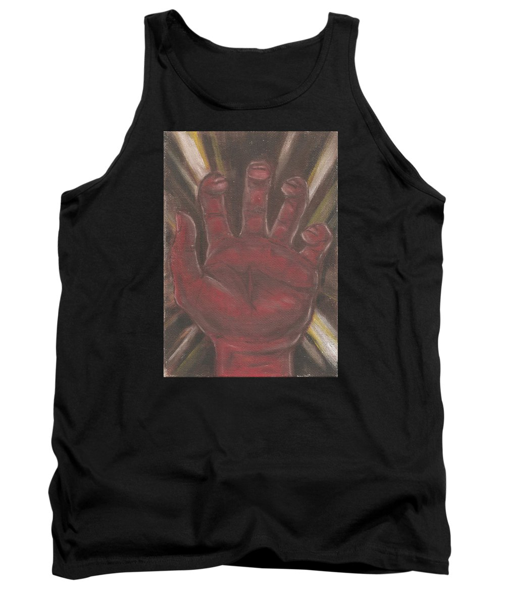 Hand Tank Top featuring the painting Hand Of God - Death by Jeffrey Oleniacz