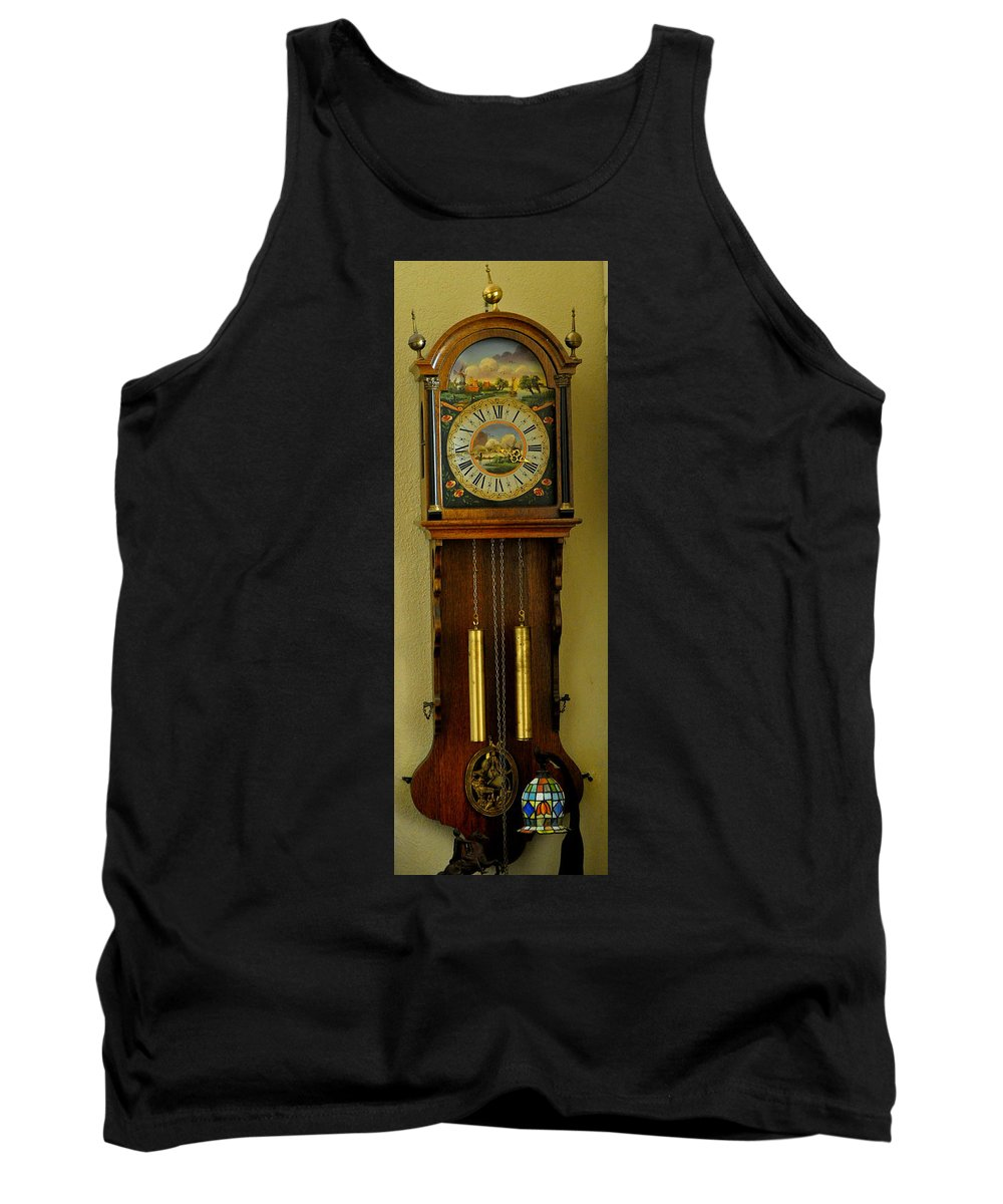 Clock Tank Top featuring the photograph Hand Painted Clockwith Chimes by Jay Milo
