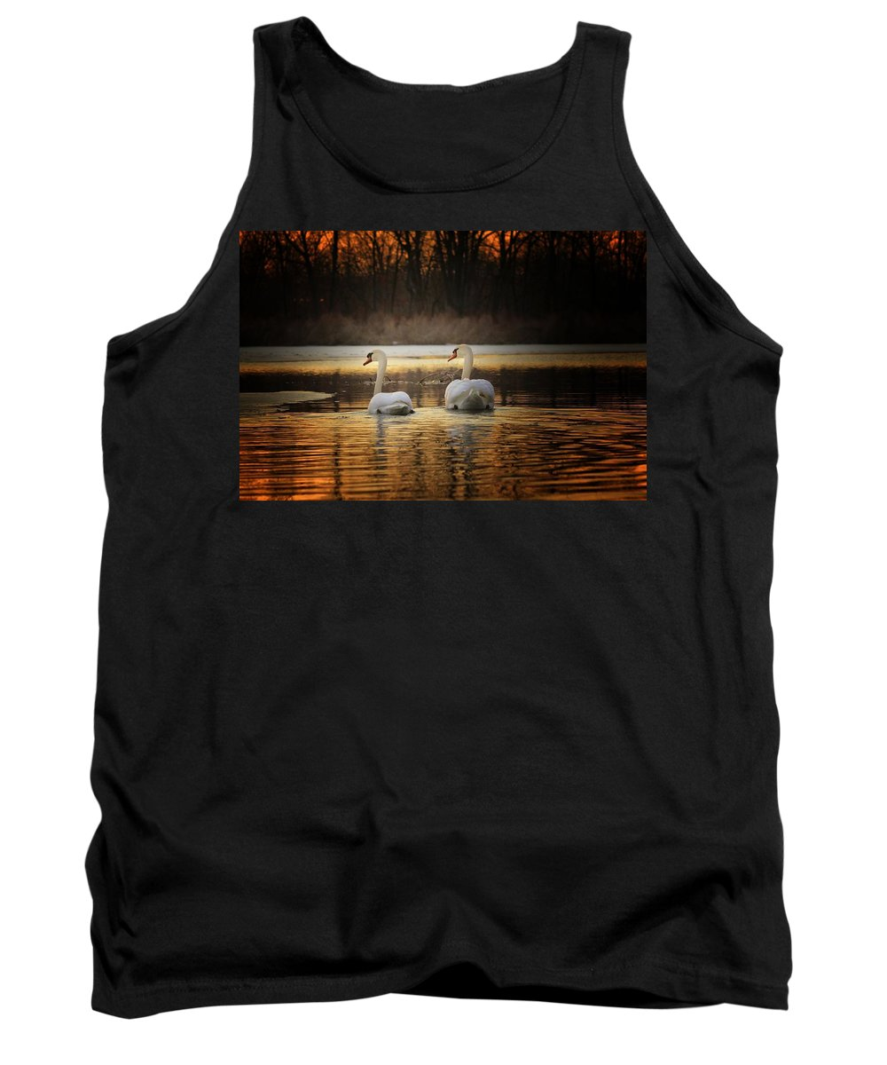 Swan Tank Top featuring the photograph Happy Trails by Michael J Samuels