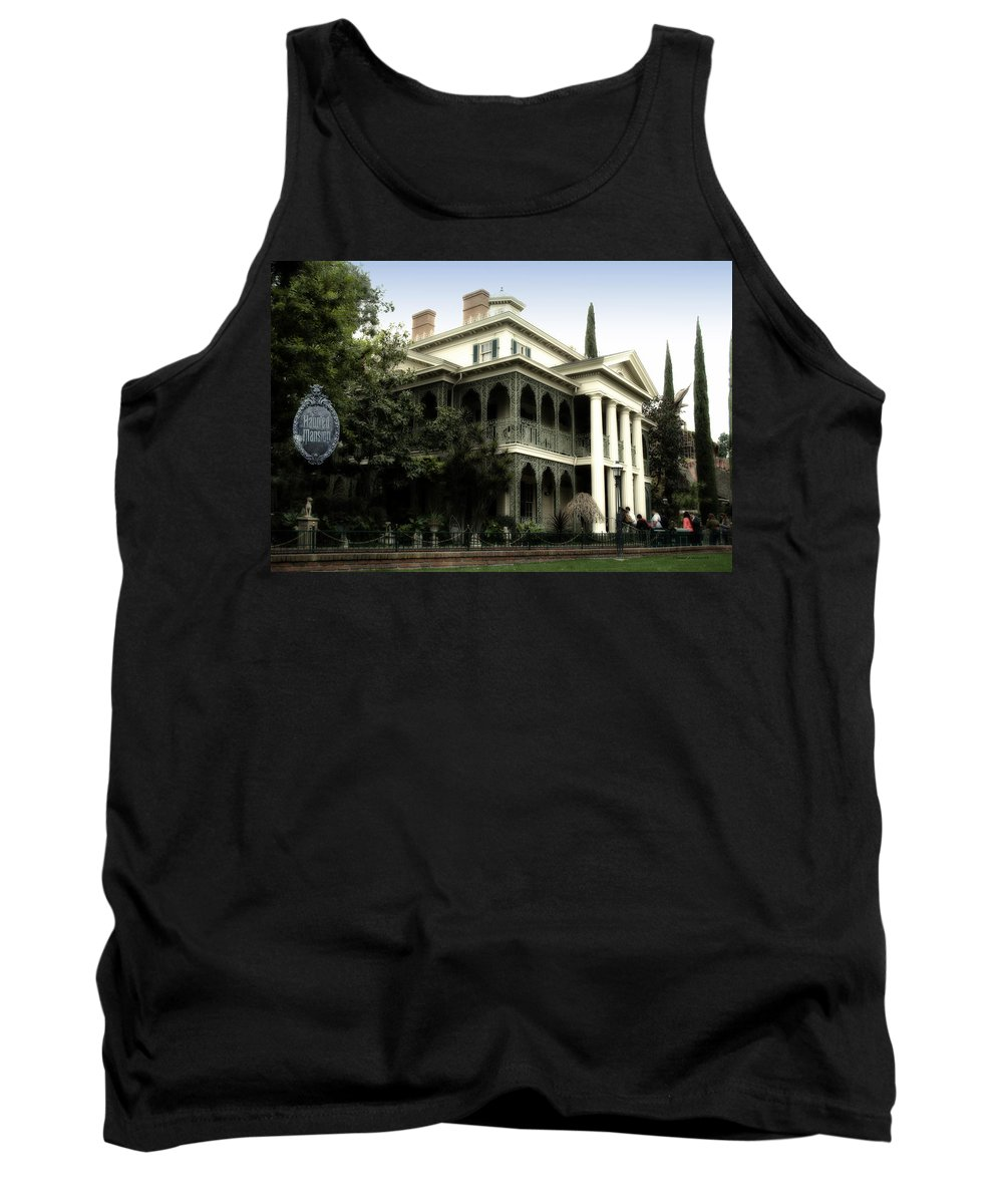 Disney Tank Top featuring the photograph Haunted Mansion New Orleans Disneyland by Thomas Woolworth