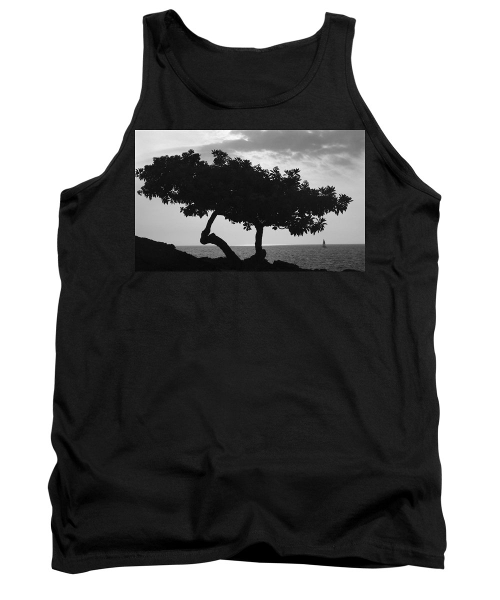 Beach House Tank Top featuring the photograph Hawaii Tree And Sail Boat by Guy Shultz