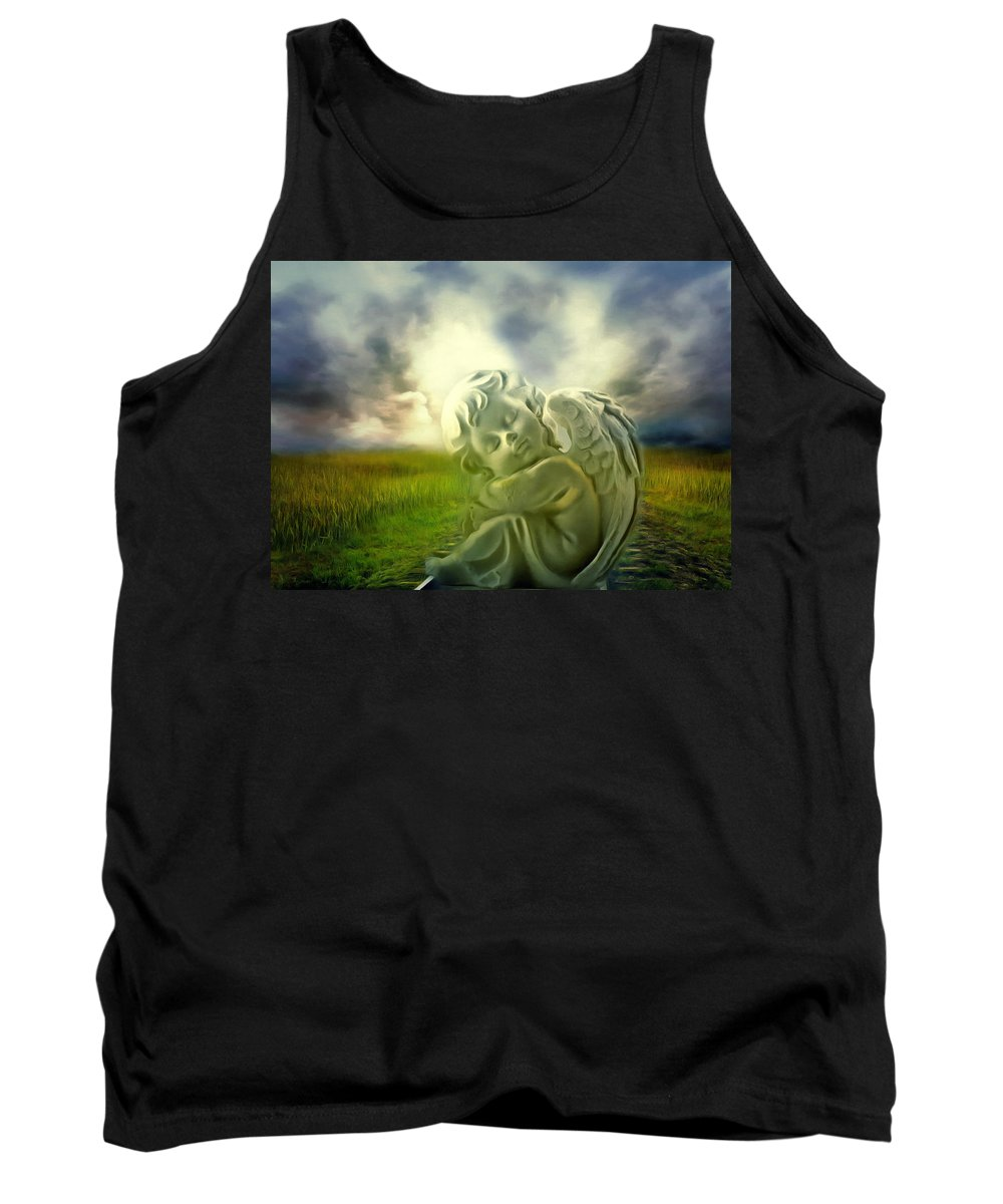 Angel Tank Top featuring the digital art Heavenly Angels Vintage Cool Version by Georgiana Romanovna