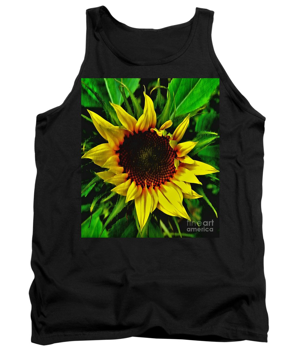 Painting Tank Top featuring the painting Helianthus Annus - Sunnydays by Vix Edwards