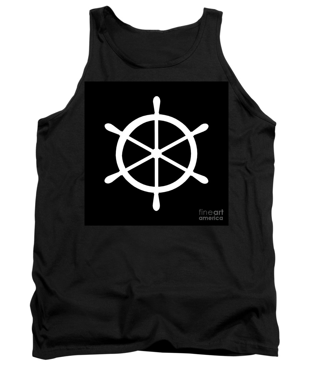 Graphic Art Tank Top featuring the digital art Helm In White And Black by Jackie Farnsworth