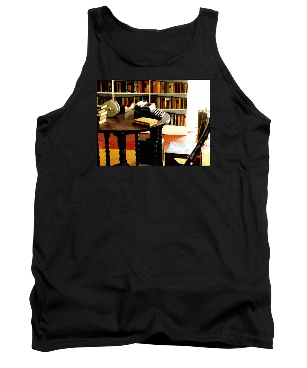 Ernest Hemingway Photograph Tank Top featuring the photograph Hemingway's Studio Ernest Hemingway Key West by Iconic Images Art Gallery David Pucciarelli
